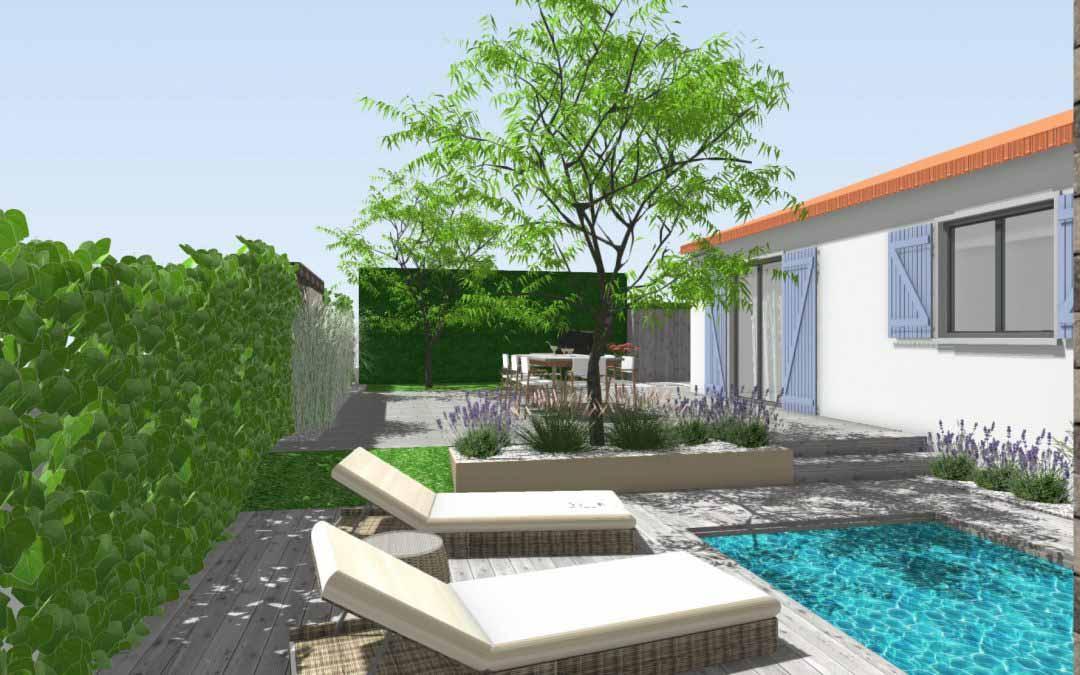 Conception de Jardin en Ligne, pour un projet près de Montpellier. Avant-Après