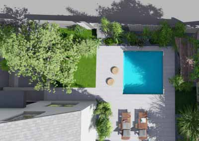 Jardin piscine 3d bois blanc__13 - Photo