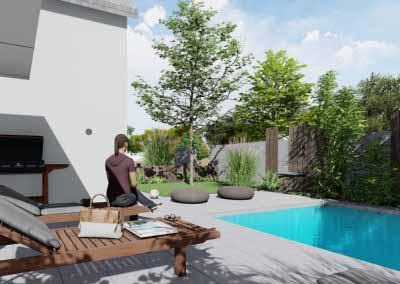 Petit jardin 3d piscine