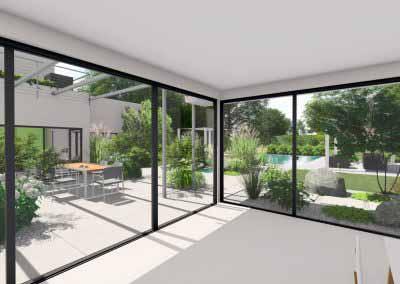 Vue 3d jardin maison