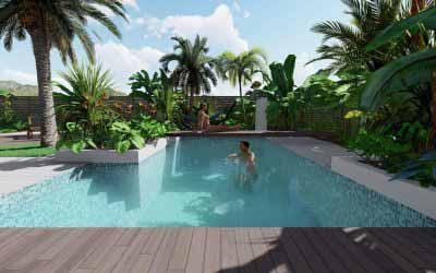 Jardin en Martinique. Conception et 3d en Ligne.