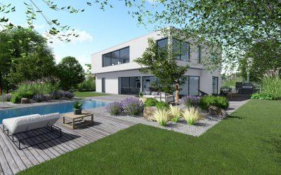 Aménagement d'un jardin complet, avec piscine à débordement, sur un terrain de 32 ares.