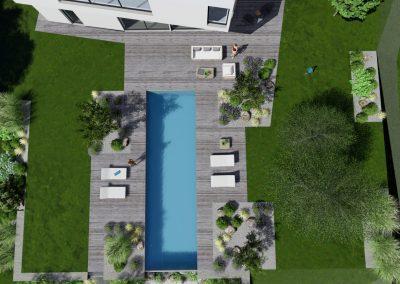 Vue en plan d'une conception de piscine