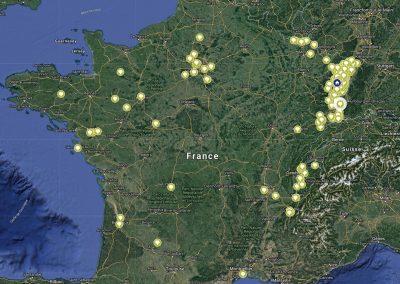 Carte de Nos clients sur toute la France.