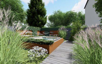 Etude de Jardin à Strasbourg- Spa, terrasses, brise-vues.