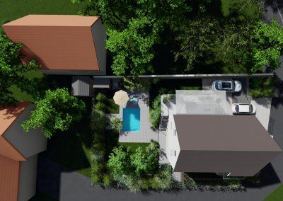 Photo 3d plan jardin vue de dessus