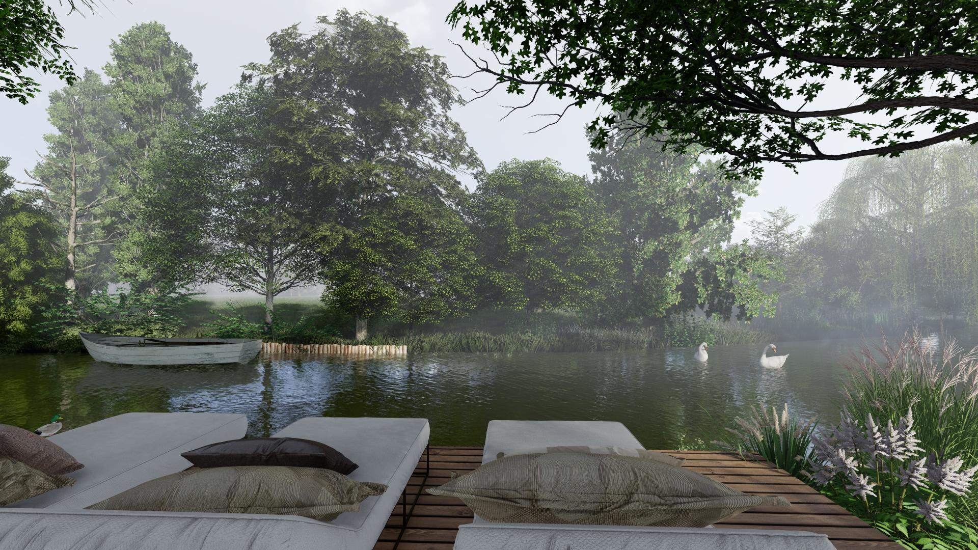 Architecte paysagiste 67- Terrasse au bord de l'eau