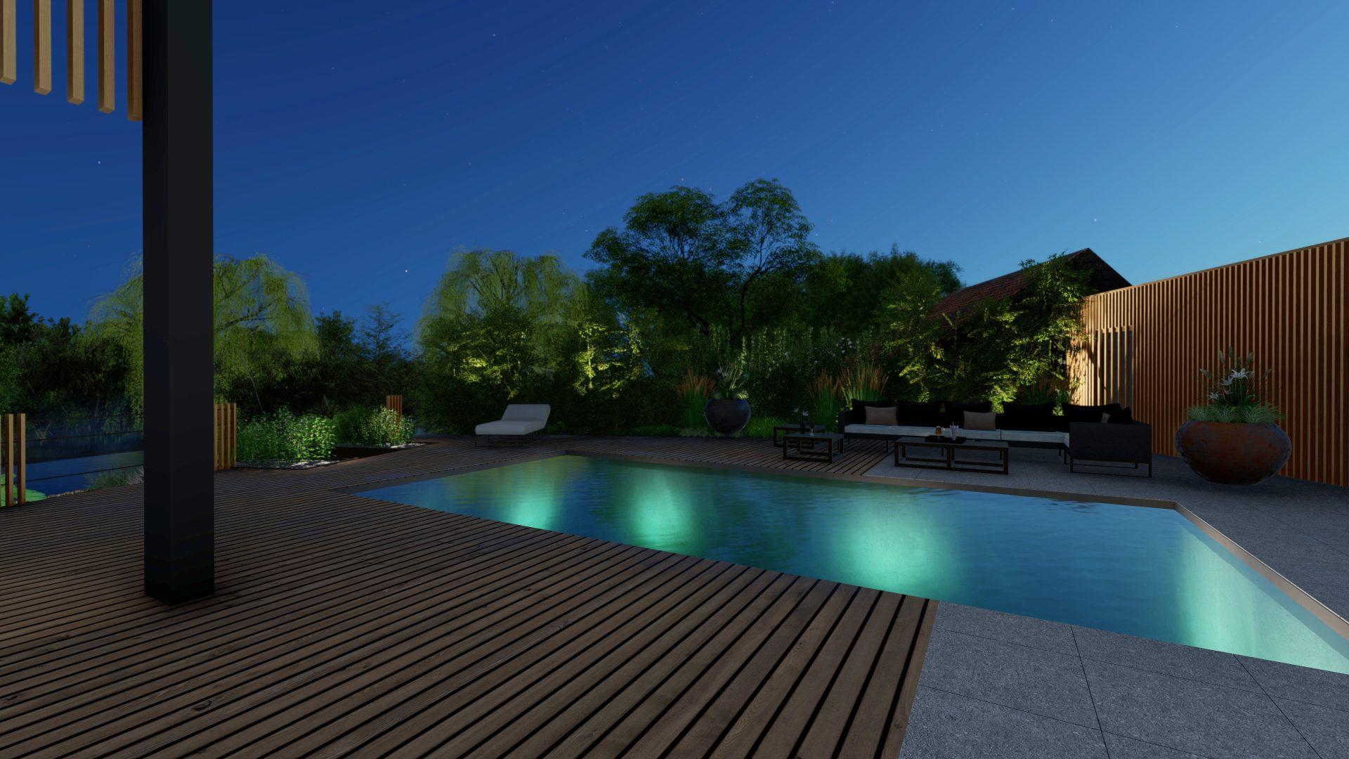 Eclairage extérieur piscine