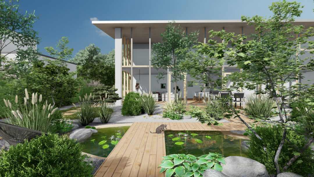 Conception Jardin 3D, ambiance zen, naturel, moderne.