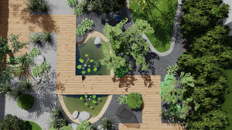 Plan Bassin jardin 3d Paysagiste