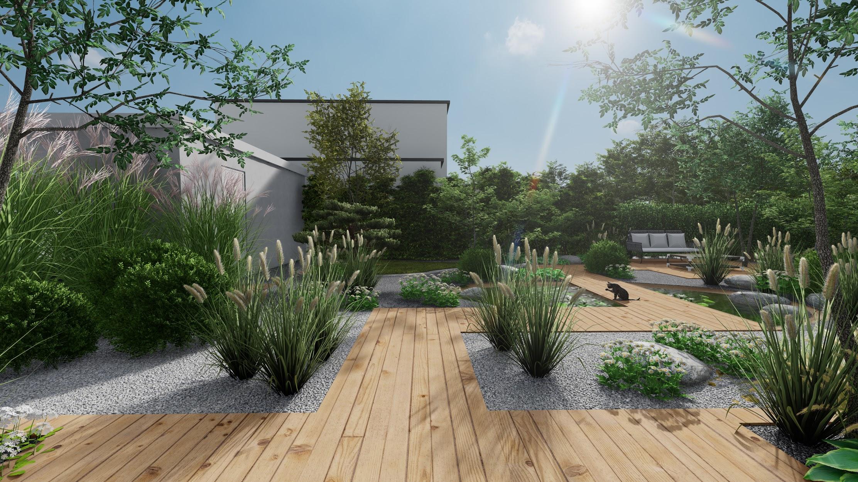 Jardin dessin 3d plan terrasse bois