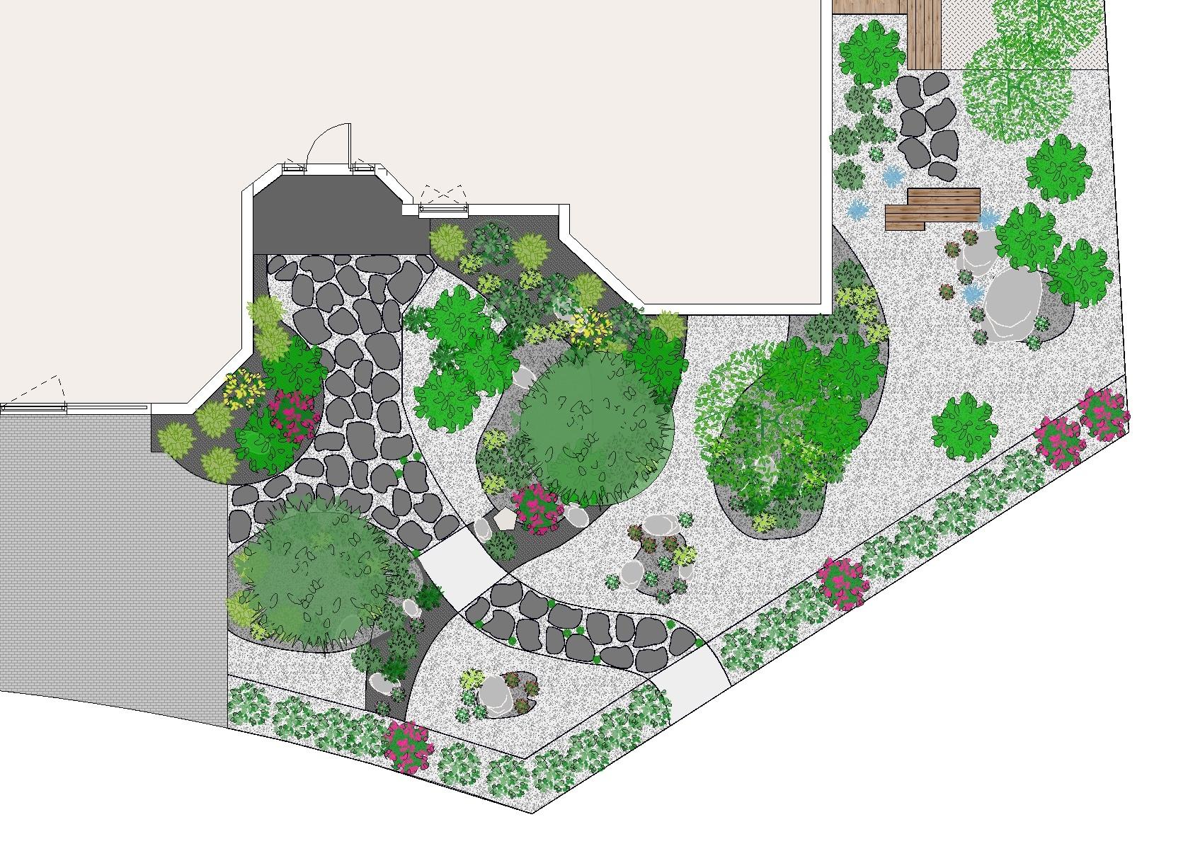 Plan de jardin en vue de dessus