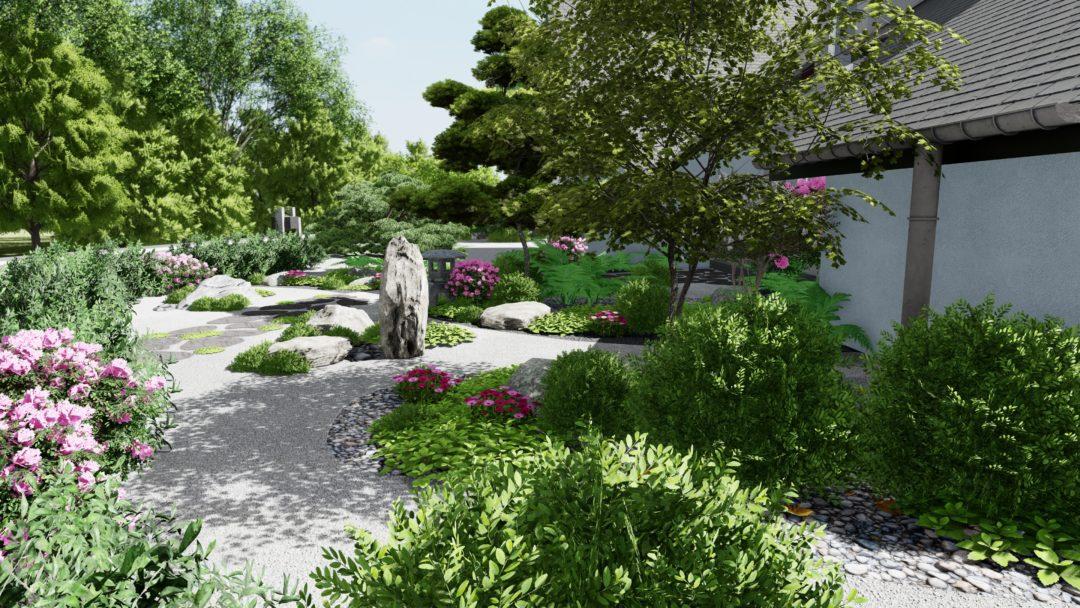Jardin Japonais à l'entrée d'une maison