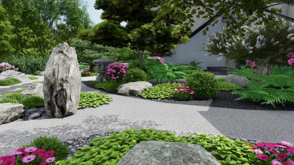 Photo 3d jardin japonais