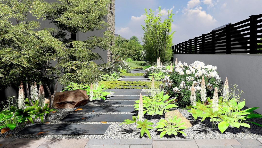 Conception 3D d'un extérieur près de Paris, tout en ligne.