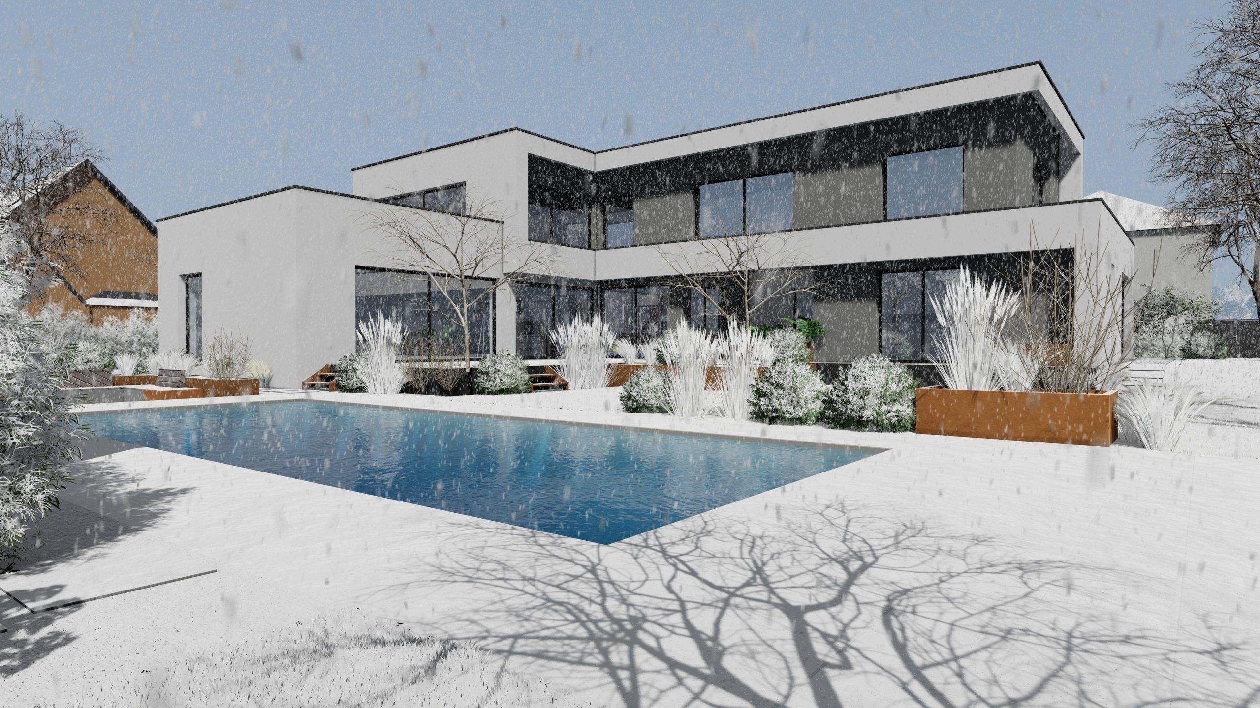 aménagement extérieur piscine hiver