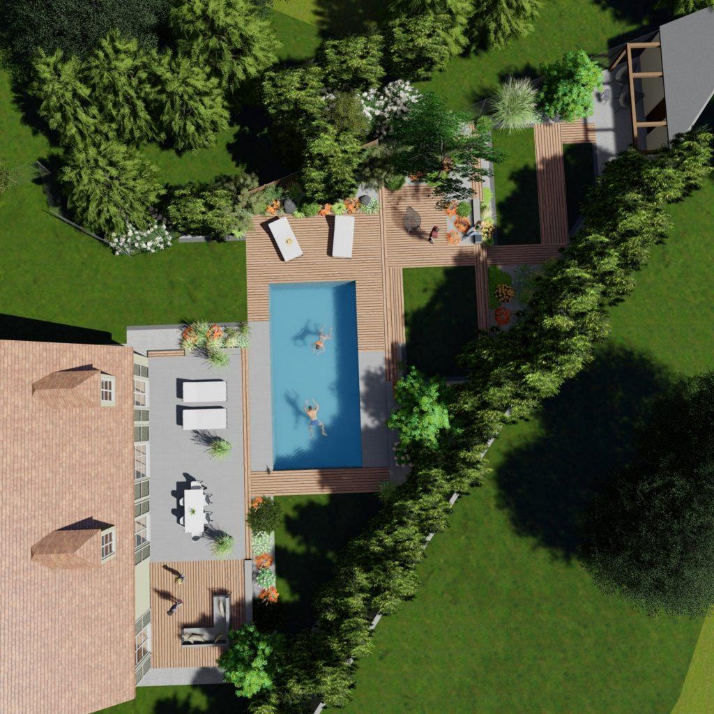 Plan jardin vue dessus
